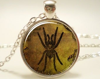 Spider Necklace, Spooky Gothic Halloween Pendant Jewelry (0792S1IN)