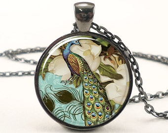 Peacock Necklace, Victorian Style Peacock Jewelry Glass Art Pendant (0857G1IN)