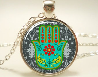 Hamsa Hand Necklace, Protection Pendant, Good Fortune Charm (1094S1IN)