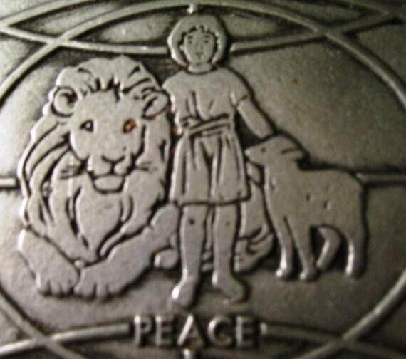 RARE pewter Lion, Lamb, and Shepherd Child Beautiful