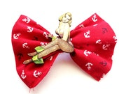 Red Anchor pin up rockabilly hair bow