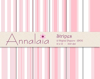 INSTANT DOWNLOAD Digital Paper Pack: Pink and White Stripes 12x12 8,5x11 Baby Girl Digital Scrapbook Paper Commercial Use 103