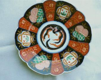 Antique Imari - Porcelain - Flow Blue - Japanese Imari Plate - Meiji Period Imari - Japanese Ceramics - Antique Imari Dish - Phoenix