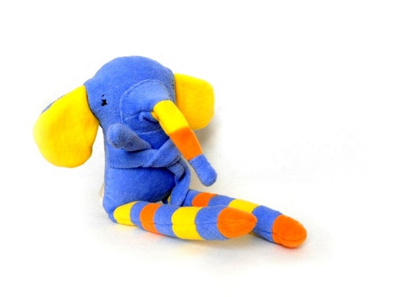 Stuffed animal soft safe for child Blue Elephant Fleece cotton colorful sweet cat. OOAK