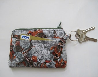 Coins Zipper Wallet, Quarter, Pennies, Nickels and Dime Coins, Pockets and Key Ring, 5.25 x 3.5 inches