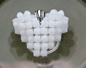White Mocha Heart, Floating Heart Necklace, Swarovski Crystal Pendant, Handmade Heart Charm, Match Expression Rings of Hope