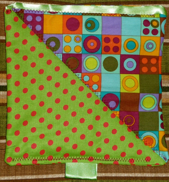 Red Green Polka Dots with Circular pattern security binky blanket