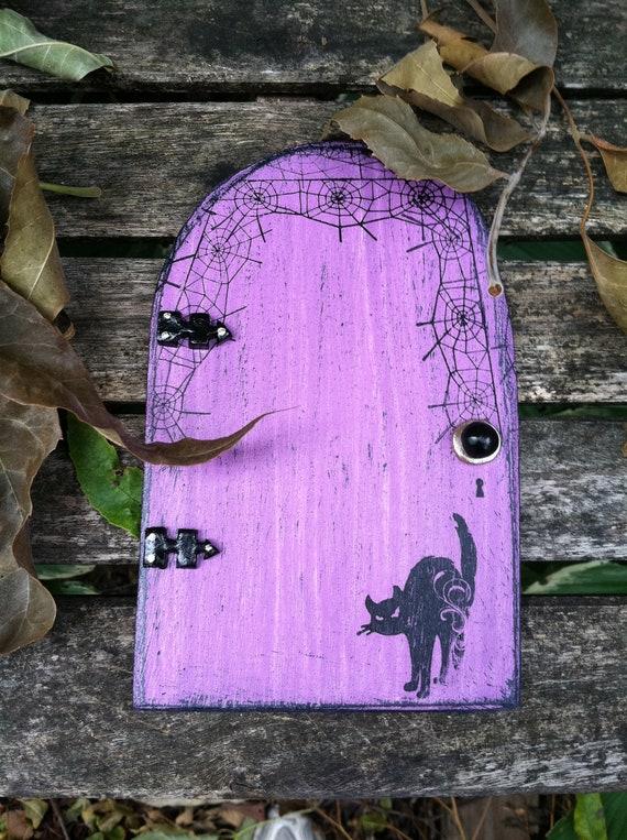 Halloween fairy door purple black cat by woodenbling on etsy for Purple fairy door