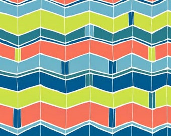 1/2 yard VeloCity Chevron by Jessica Hogarth for P & B Textiles - Blue, orange, green Zig Zag