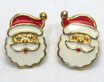 Christmas Santa Claus Earrings Jolly Old Saint Nicholas - AVON - Vintage (pierced)
