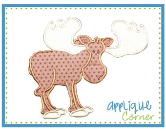 747 Moose with Antlers applique design in digital format for embroidery machine by Applique Corner