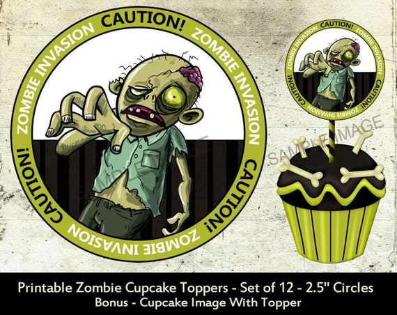 Zombie Wedding Gifts: Items Similar To Zombie Party Cupcake Toppers Birthday