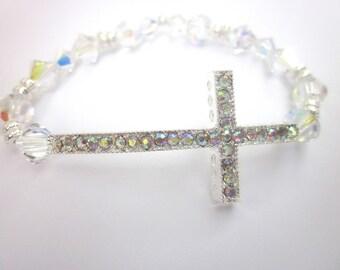 Swarovski Crystal Sideways Cross Bracelet, Sparkle, Faith Jewelry, Christian Jewelry, Inspirational Bracelet