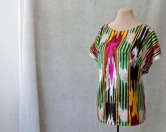 ikat blouse ikat tunic ethnic top silk ikat clothing tribal Uzbek traditional bold ballet neckline yellow green black white split