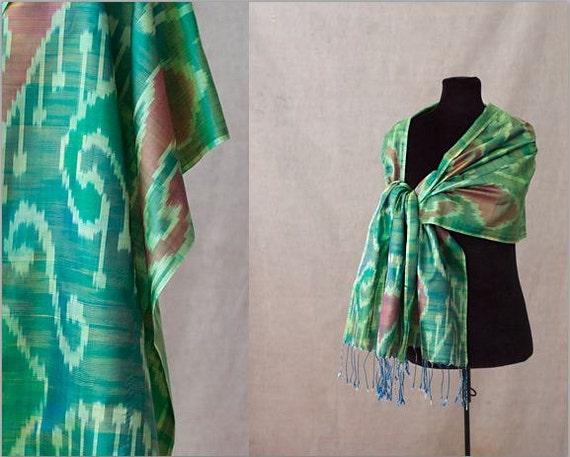 Ikat Silk Scarf, Stole or Shawl, SALE