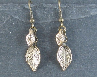 Fashion Jewellery - Antique gold plated leaves earrings
