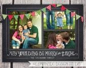 Photo Christmas Card - Chalkboard Christmas Card - ANY VERSE - Bunting Christmas Card - Merry Little Christmas - Chalkboard Holiday Card