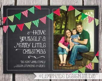 Christmas Card - Chalkboard Bunting Photo Christmas Card - Holiday Card - Merry Little Christmas - Printable