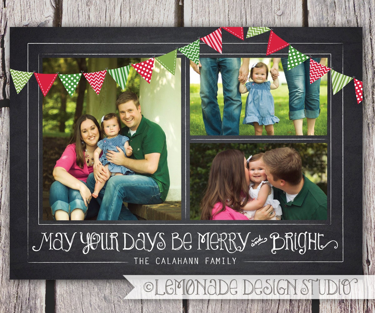 Photo Christmas Card Chalkboard Christmas Card ANY VERSE