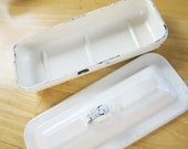 Sterilizing Tray With Lid - Metal Tray With Lid - Medical History - Enameled White Paint - Dental - History - Industrial