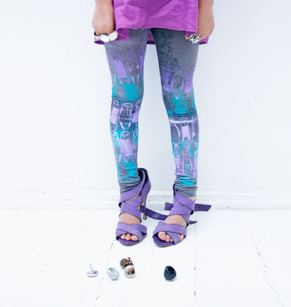 Purple and turquoise - Glow in dark children leggings 5T,6T