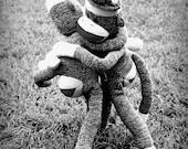 Sock Monkey Nursery - Black and White Photograph - 11x14 Dorm Decor, Playroom, Humor Art