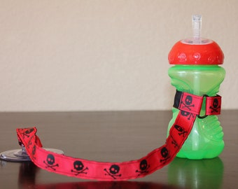 Sippy Cup Leash | Sippy Strap | Sippy Cup Strap Suction Cup | Bottle Tether | Sippy Cup Strap | Suction Sippy Strap | Skulls
