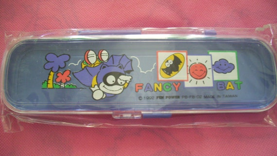 Fancy Bat Pencil Box Purple Blue Lilac Pencil Box 1992 Pen Power School Supply