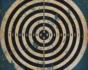 Target vintage style graphic art on canvas  panel  6 x 6 x 1.5  Art of Play Collection by Fowler Creative Arts