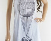 Floating Balloon Pig Sky Funny Pig Tank Top Art Pig Shirt Animal Tee Animal T-Shirt Women T-Shirt  Mini Dress Top Tunic Screen Print Size M