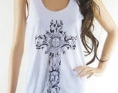 Christian Cross (Size S) Art Design Cross Tank Top Women Tanks Christian Cross Shirt White T-Shirt Screen Print Size S