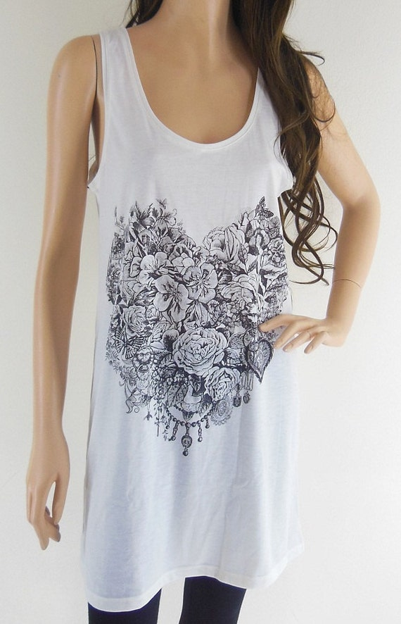 Rose Heart Design Art Elegant Happy Love Forever Fashion Tank Top Tunic Design Cream T-Shirt Screen Print Size M