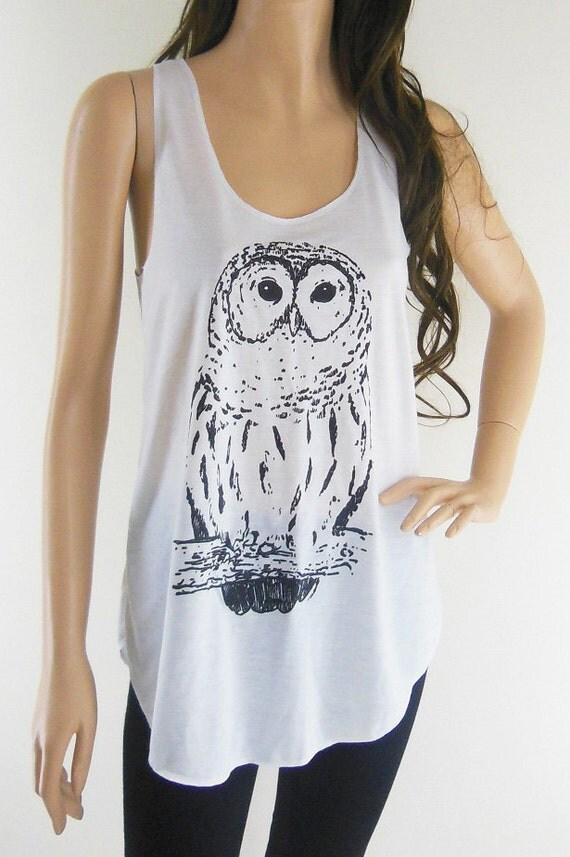 Owl Bird Cute Animal Style Animal Fashion Owl Tank Top Cream T-Shirt Tunic Screen Print Size S