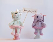 Lilac Bunny and Light pastel green Cat for keeping warm breakfast eggs  - knitting patterns