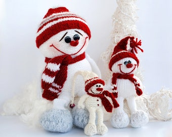 SALE 3 Snowmans - pdf knitting patterns. Christmas Ornament