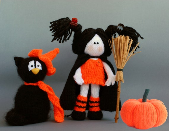 Halloween Knitting Patterns : Items similar to Halloween knitting patterns Sale : Black Cat in the orange H...