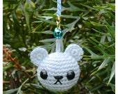 Amigurumi Bear Charm - Ice Blue - Crocheted keychain or phone charm