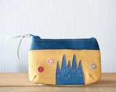 Leather mini pouch, Purse, Upcycled, Sagrada Familia, Barcelona, Small zipper pouch