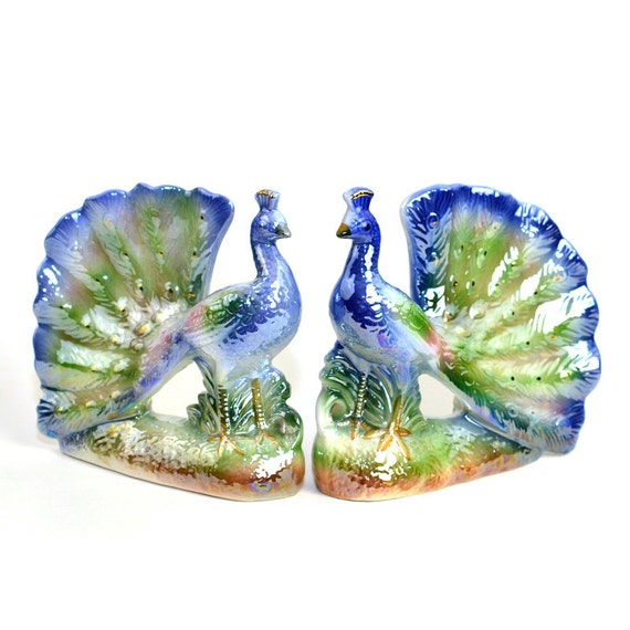 Sale Peacock Pair Iridescent Painted Ceramic Large Statues