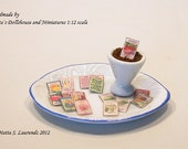 Dollhouse Garden miniature -  'Mixed Flowers & Vegetables' - 16 different seed packets - 16 pcs. - 1/12 scale  (SP16)