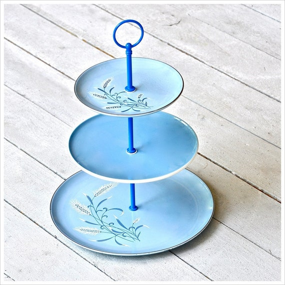 Grano: 3 Tier Serving Stand, Blue Cake Stand, Vintage Tea Stand, Mini Cupcake Stand, Boy Baby Shower