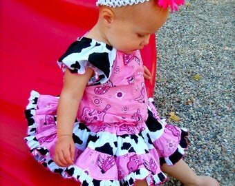 Ari's Angels girls Pink Cowgirl outfit Custom Boutique Peasant Top and Full Twirling Skirt