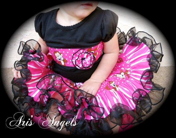Ari's Angels Pink Monkey Applique Shirt and Full Twirling Skirt