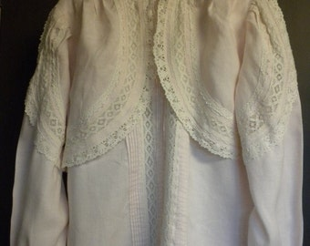 One of a Kind linen and Belgian hand made lace blouse