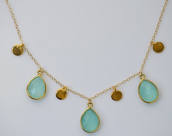 Aqua Seafoam Chalcedony gold disk coin Necklace - Teardrop bezel station gold filled or sterling silver  - Danique Collection