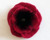 Deep Raspberry pink Poppy brooch