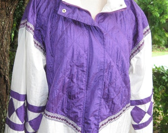 Positively PURPLE- Vintage 1980s Quilted Windbreaker Size XL Sunterra