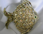 Gold Tone Aurora Borealis Studded Angel Fish Brooch Pin