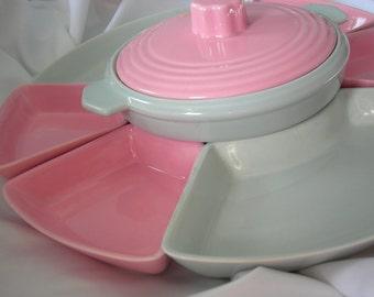 8 Piece Pink and Grey Lazy Susan Serving Set - Trays & Lidded Bowl - Vintage 1950-1960