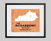 Kentucky  -  Rustic Style Personalized State Map Art Print - 8.5x11 - also available in 13x19, 11x14, and 5.5x8.5 - see listing details
